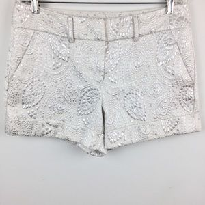 New York & Company White Metallic Print Shorts
